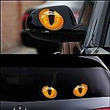 2pcs 12 * 10 cm de simulación linda ojos de gato etiquetas engomadas del coche 3D etiqueta del vinilo for la cabeza del coche Espejo retrovisor tapa del motor Decoración de Windows