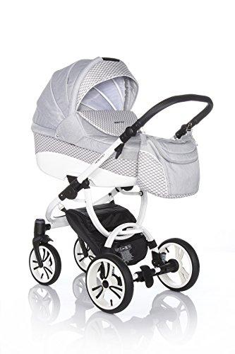 Bebetto Holland Modernes Travelsystem Kinderwagen Babywagen Buggy Kinderwagen System + Wickeltasche + Regenschutz + Insektenschutz (3in1: Babywanne + Sportsitz + Babyschale, W45W HELLGRAU-KARO WEIß)