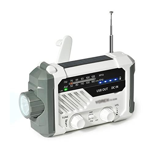 HDDFG Radio de Emergencia Am FM, Radio Solar a Pilas con manivela con Linterna LED, lámpara de Escritorio, Cargador de 2000 mAh
