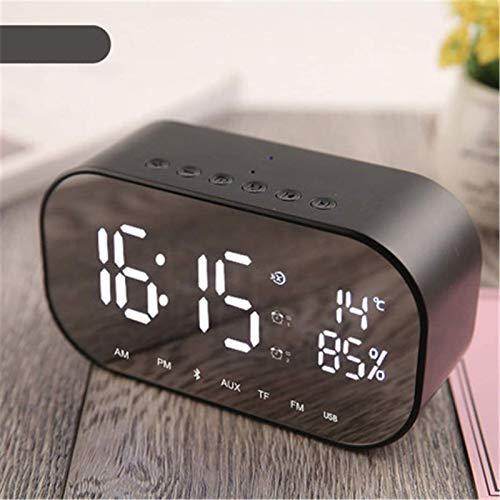 FENGCLOCK Dígito LED Espejo Inalámbrico FM Relio Reloj, Bluetooth Dual Speaker Metal Music Player Reloj De Alarma Espejo De La Cama Superficie Multifunción Alarma Reloj De Alarma,Negro