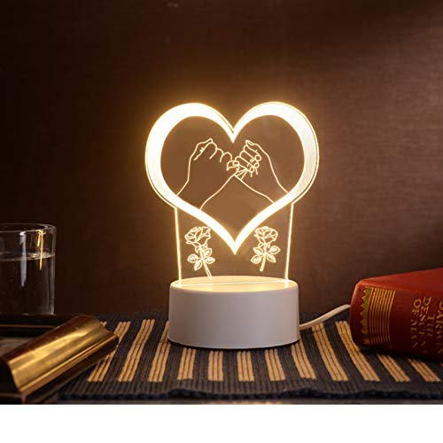 LEEDY LED Nachtlichter 3D USB Acryl Nachtlicht Tisch Schreibtisch Schlafzimmer Dekor Geschenk Warm White Lampe Schlummerlicht Dekor Nachtlichter,Valentine's Day Geschenke