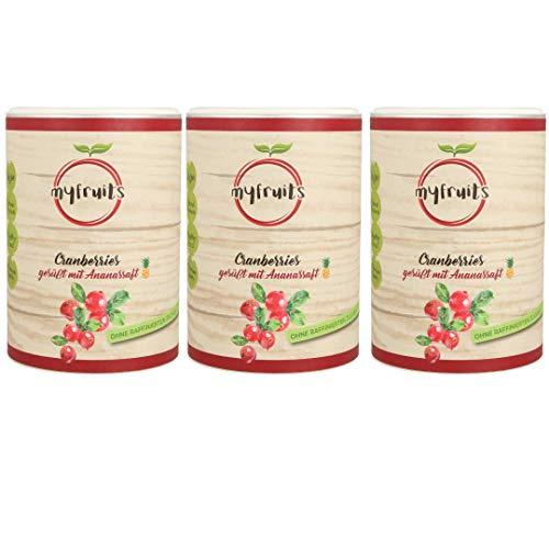 myfruits® Cranberries mit Ananassaft, getrocknet, ohne raffinierten Zucker. Perfekt für Müsli, Joghurt oder Salate (3 x 425g Dose)
