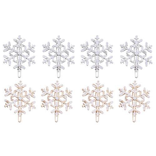 FRCOLOR 8 horquillas para el pelo con diseño de copo de nieve, para Navidad, regalo para el pelo, accesorios para el pelo, accesorios para el pelo, herramientas para el pelo, para mujeres y mujeres
