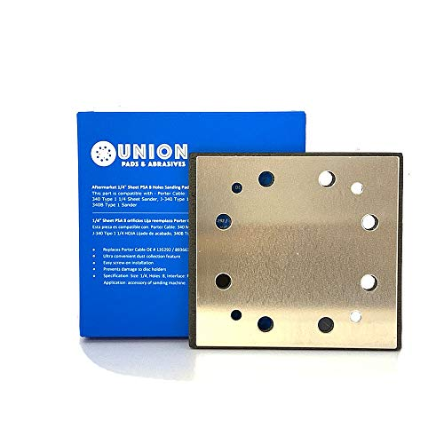 1/4 Sheet PSA 8 Holes Sanding Pad Replaces Porter Cable OEM 135292/893667, SPD16 Standard Replacement Pad for 340 Finishing Sander