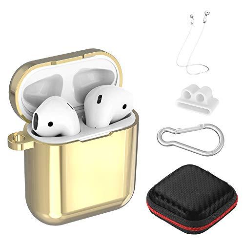 Simpeak 6-in-1 Schutzhülle Zubehör Kompatibel mit AirPods, TPU-Beschichtung Überzog Hülle Staubdicht Kratzfestes Gehäuse Kompatibel für AirPods 1und2 Ladekoffer - Champagner Gold