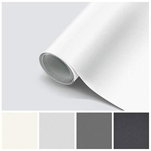 Folie Selbstklebend Möbelfolie 61 x 500cm PVC wasserdicht und schmutzabweisend Selbstklebefolie für Wände, Türen, Möbel, Küchenschrank (Weiß, 61 * 500cm)