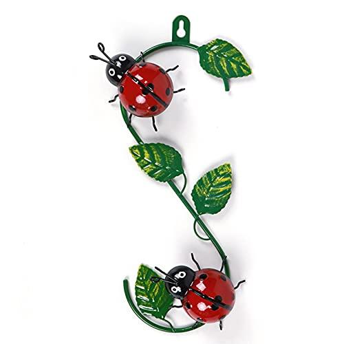 Tuinwanddecoratie van metaal, schattige lieveheersbeestje met groen blad, 3D lieveheersbeestje kunst wanddecoratie voor…