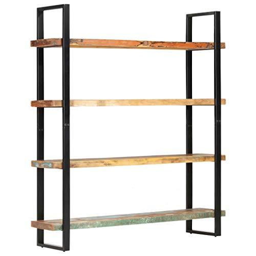 vidaXL Bücherregal mit 4 Böden Industriestil Standregal Wandregal Regal Lagerregal Aktenregal Büroregal Raumteiler 160x40x180cm Recyceltes Massivholz