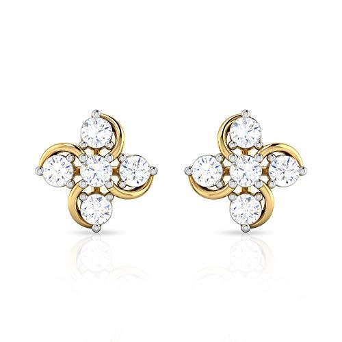 1/4 CT HI-SI Diamante Pendientes, Florales Pendientes para Mujer, Pendientes Minimales de Oro (2 mm de Diamante Redondo), 10K Oro blanco, Par