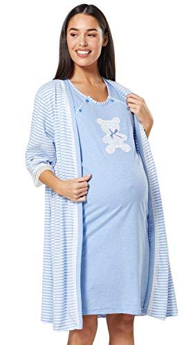 HAPPY MAMA Women's Maternity Hospital Gown Robe Nightie Set Labour & Birth...