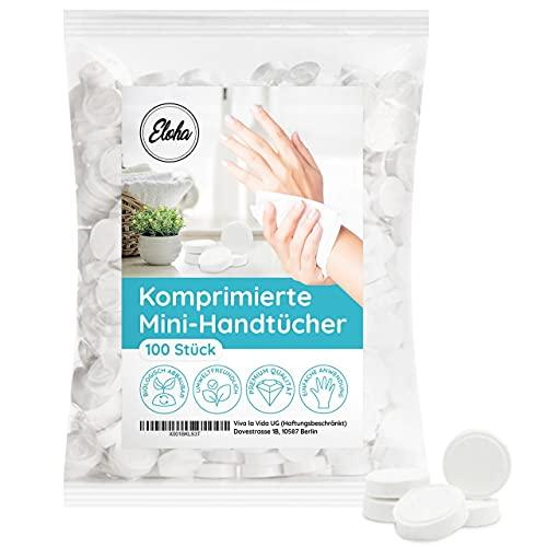 Eloha 100 Stück komprimierte Handtücher in Form von Tabletten, Münze: Einweg gepresstes Mini-Handtuch als Erfrischungstuch und Reinigungstuch,100% biologisch abbaubar, saugfähig, Makeup Cleansing
