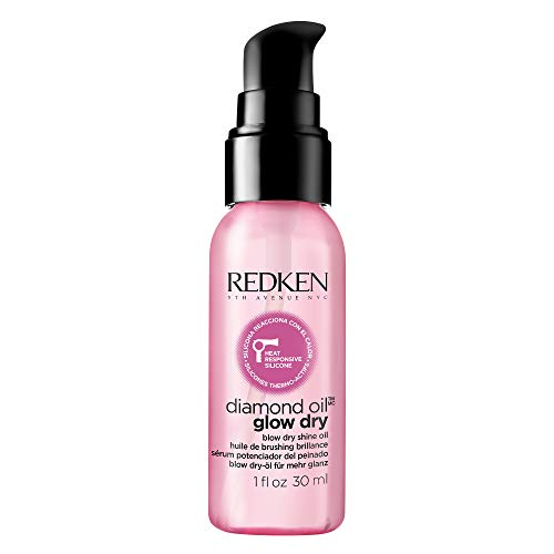Redken Diamond Oil Glow Dry | For All Hair Types | Style Enhancing Oil Adds Shine & Protects From Heat Damage | 1 Fl Oz