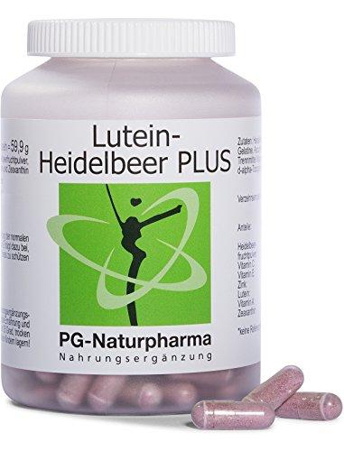 Lutein Heidelbeere PLUS, 160 Kapseln mit je 100mg Heidelbeer-Pulver, 5mg Lutein, Zeaxanthin, 40mg Vitamin C, 6mg Vitamin E, 5mg Zink