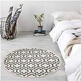 U'Artlines Teppich Rund mit Quasten Waschbare Groß Baumwollteppich Weicher Moderner Blumenmuster Teppich Wohnzimmer für Schlafzimmer(120cm)