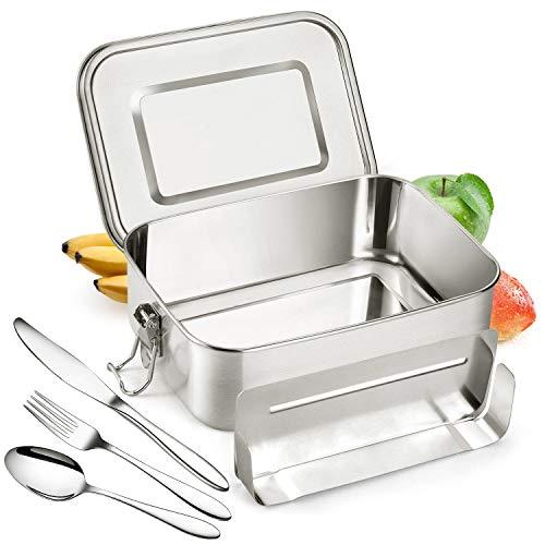 AYUQI 1200ml Bento Box Lunchbox, Bento Lunchbox in Acciaio-A Prova di Perdita Eco Amichevole Porta Pranzo con Una Piccola Pentola per Set di Posate in
