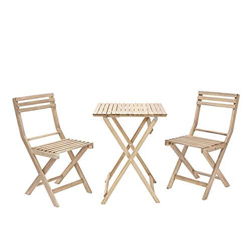 Naterial - Gartenmöbel-Set Origami - Balkon Möbel Set klappbar - 1x Tisch 55x55 cm + 2X Gartenstühle - 2 Personen - Akazie