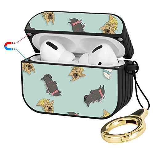 SAKUULO Compatible with AirPods Pro Case French Bulldog, Protective Plastic Cover Compatible with AirPods Pro - Black