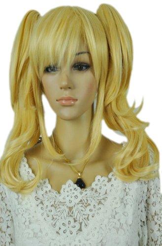 Qiyun Lovely Loli Lolita Ondule Longue Two Ponytail Blond Jaune Complete Cosplay Anime Costume Perruque
