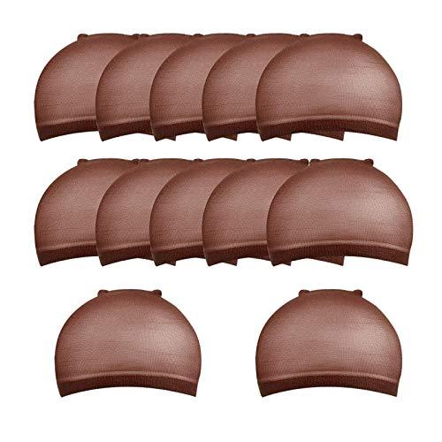 chiwanji 12Pc Casquette de Perruque de Couleur Café Respirant Doublure Extensible En Nylon pour Femmes Hommes