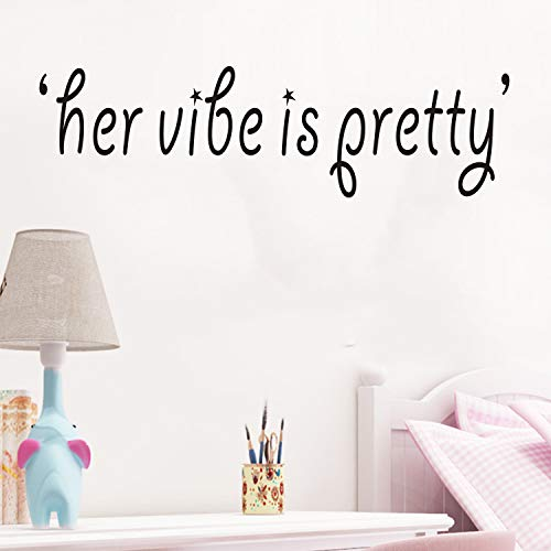 VODOE Wall Decals for Women, Wall Decals for Girls, Inspirational Quotes Yoga Ballet Dance Feminine Trendy Cute Female Living Room Bedroom Dorm Vinyl Art Home Decor Stickers Her Vibe is Pretty 25'x7'