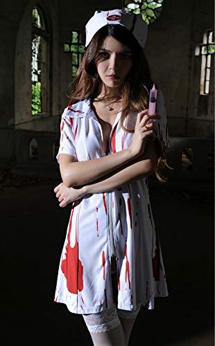 Rhpnyi Disfraz de Halloween Scary Bloody Doctor sangrienta Enfermera Fantasma Novia Fantasma Festival Prom Dress up Fantasma Enfermera Talla nica