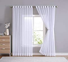LinenZone - Grommet Semi-Sheer Extra Wide - 2 Wall-to-Wall Curtain Panels - Total Size 216 Inch Wide (108