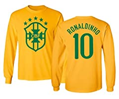 100% Cotton Printed in the U.S on a high quality garment Designed and Manufactured by Tcamp Machine Washable Tcamp Soccer Legends #10 RONALDINHO Jersey Style Men's Long Sleeve T-Shirt