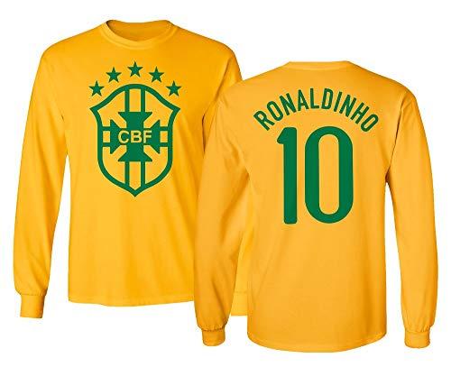 Tcamp Soccer Legends #10 Ronaldinho Jersey Style Boys Girls Youth Long Sleeve T-Shirt (Gold, Youth Large)
