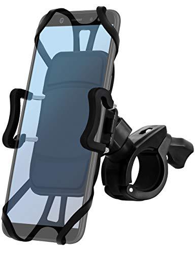 ONEFLOW Lenker Fahrradhalterung mit Schnellverschluss für alle Smartphones | Sicherer Halt und volle Bedienbarkeit sowie drehbar + schwenkbar, Schwarz