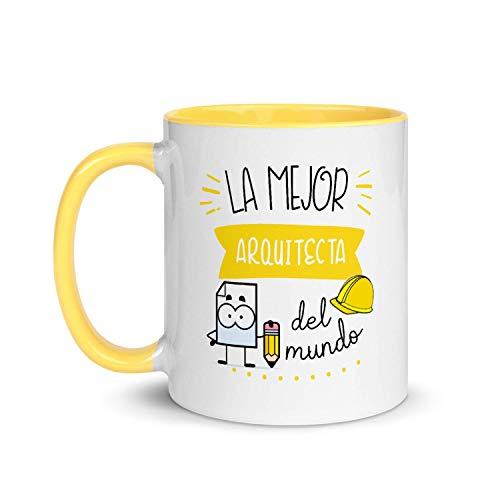 Kembilove Taza de Desayuno de la Mejor Arquitecta del Mundo – Tazas de Café de Profesiones y Trabajadores para la Oficina – Tazas de Té de Color para Profesionales – Taza de Cerámica de 350 Ml