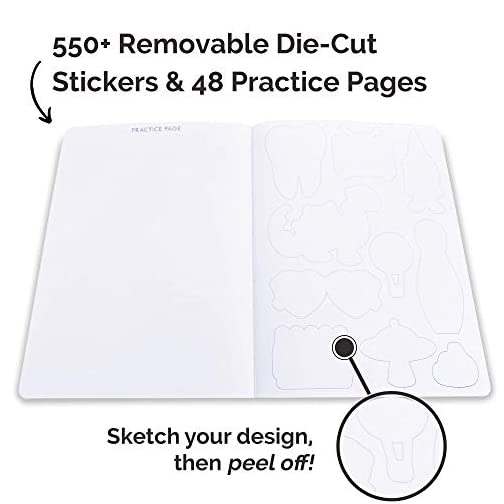 Piccadilly Sketch Your Sticker | Guided Artistic Sketchbook with Removeable Die-Cut Stickers | 550+ Sticker Outlines… |