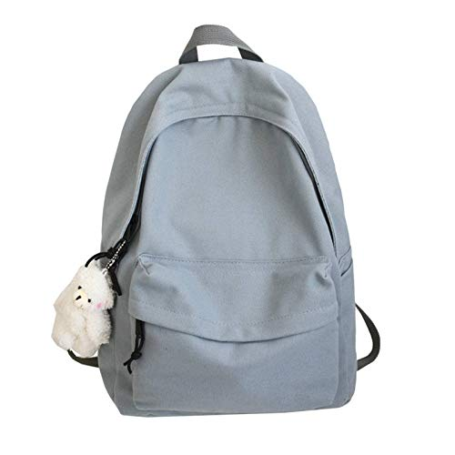 N-B Girls' Simple And Fashionable Backpack, Solid Color Canvas Daypacks For Women, Casual And Lightweight School Bag