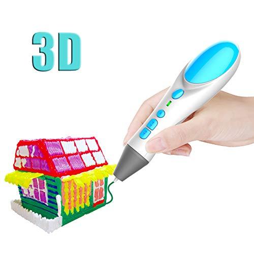LCHENX-Pluma 3D, Pluma de Impresión 3D con 180 Pies 10 Colores Filamento PLA de 1.75 mm, Bolígrafo de Dibujo 3D para Niños Artista Adulto,Blanco