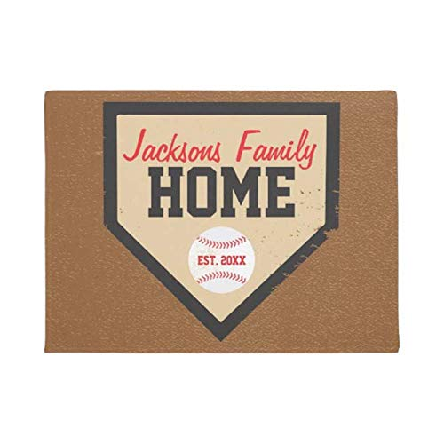 N/A Floor Mat 3D Printing Baseball Family Home Plate Name And Year Doormat Home Decoration Entry Slip Door Mat Rubber Washable Floor Home Rug Carpet Non-Slip Absorbent Pad
