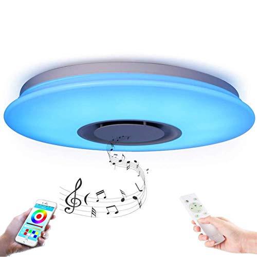 YUPIN LED plafondlamp, Smart WiFi Wireless mobiele telefoon app spraakgestuurde muziek plafondlamp RGB kleur veranderende lichten met Bluetooth luidspreker afstandsbediening dimbaar timing geheugenfunctie lamp