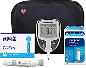Contour Next EZ Diabetes Testing Kit   Contour Next EZ Blood Glucose Meter, 100 Contour Next Blood Glucose Test Strips, 100 Lancets, Lancing Device, Log Book, User Manuals and Carry Case