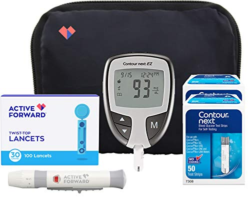 Contour Next EZ Diabetes Testing Kit | Contour Next EZ Blood Glucose Meter, 100 Contour Next Blood Glucose Test Strips, 100 Lancets, Lancing Device, Log Book, User Manuals and Carry Case