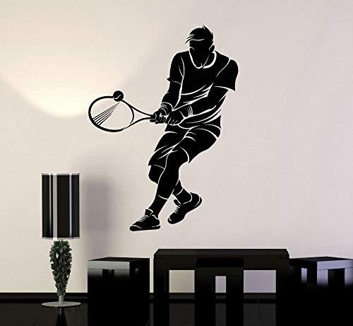 Tianpengyuanshuai Vinilo Decorativo Jugador de Tenis Pegatinas de Pared niño niños Raqueta 50X66cm