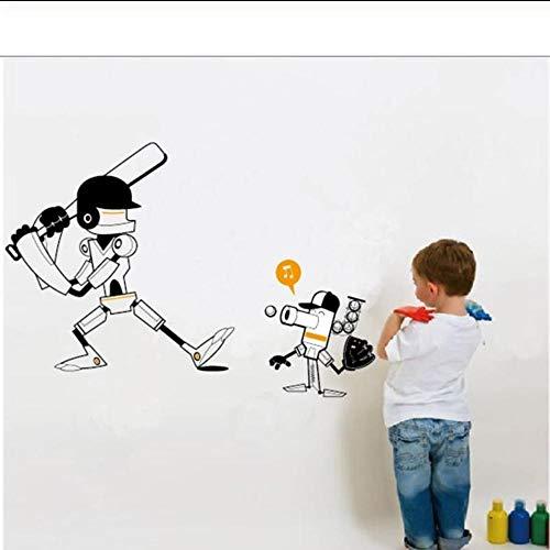 JHLP Kerstcadeau Cartoon Robot spelen Baseball muur Stickers Children's kamer Decor jongen kamers Decoratie 84x46cm