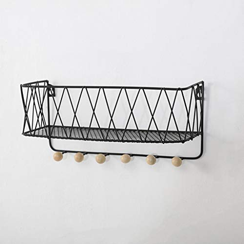 yaya Coat Rack Creatieve Smeedijzeren Houten Wandplank Ingang Sleuteljas Kleding Tas Sjaal Haak Opslag Rack Home Decoratie Organizer Coat Stand