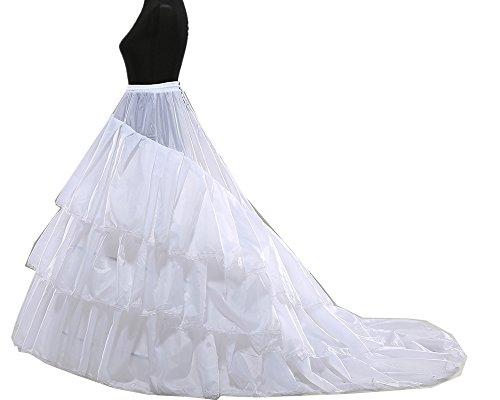 JLSun Reifrock Petticoat mit Schleppe, aus Satin,JL4804WNB