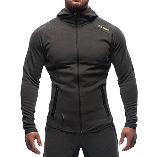 Broki Bodybuilding Gym Fitness Felpa Con Cappuccio Uomo Zip (S, Dark Grey)