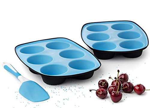 Muffinform silikon muffins backformen silikonform muffinblech 6er Kuchenform antihaft Pfannen muffinbackblech - Set aus 2 + Spachtel