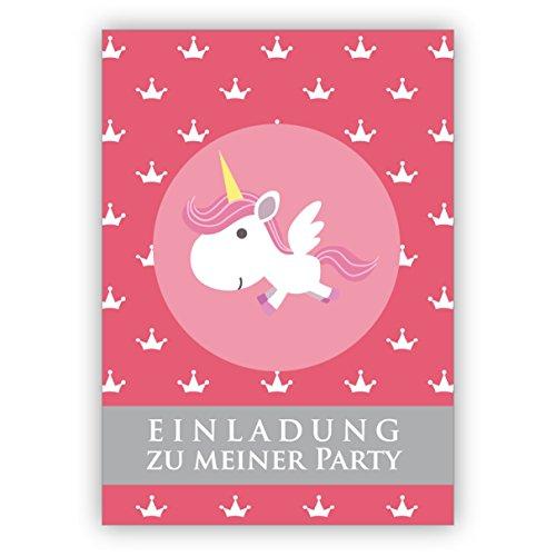 Schattige roze uitnodigingskaart voor kleine prinsessen met eenhoorn en kroon: uitnodiging voor mijn party • mooie kaart met envelop als wenskaart 4 Grußkarten