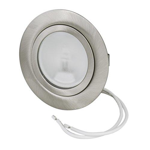 Set Möbeleinbauleuchte Farbe: Edelstahl gebürstet - 12Volt G4 20Watt Leuchtmittel inklusive (dimmbar) - Bohrloch: 55-60mm - Außendurchmesser: 72mm - Einbautiefe: 19mm - Leuchtmittel austauschbar - auch für LED geeignet
