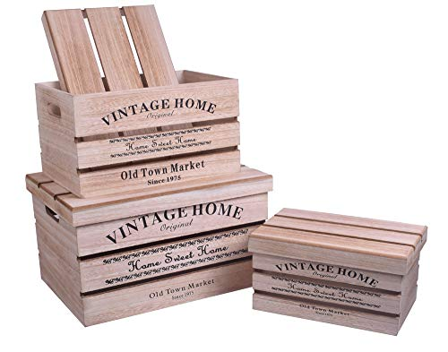 Juego de 3 cajas de madera con tapa para almacenamiento de diferentes tamaños