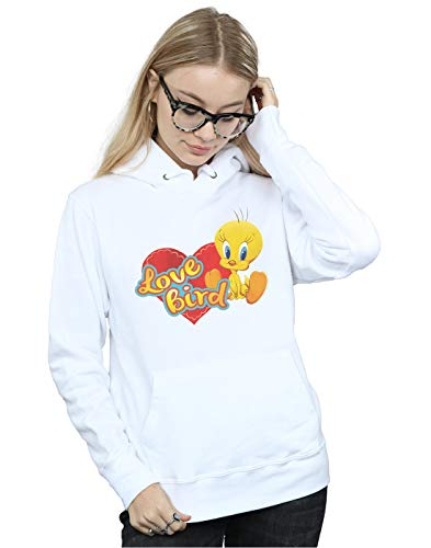 Looney Tunes Women's Tweety Pie Valentine's Day Love Bird Hoodie White XX-Large