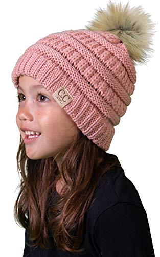 Kids Pom Beanie - Indi Pink (Faux Fur pom)