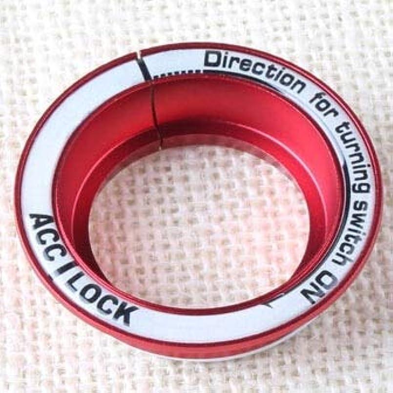 薄いです警告却下するJicorzo - フォードフォーカス2 3 4 2005-2016、自動車の付属品のためのルミナス車イグニッションキーホールリングの装飾カバー[赤]