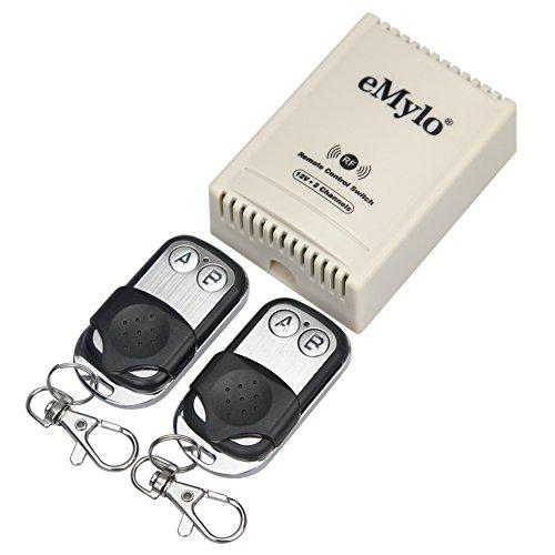emylo DC 12V Interruptor de Control Remoto inalámbrico de 2 Canales Módulo de relé de RF Automatización del hogar DIY para lámpara/Puerta de Garaje/Persiana Enrollable/Motor con433MHz transmisor